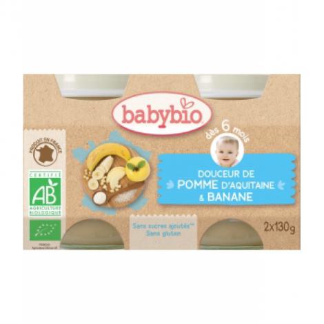 Babybio Douceur de Pomme d'Aquitaine et Banane 2X 130g dès 6 mois 260g Babybio Alimentation bébé Onaturel.fr