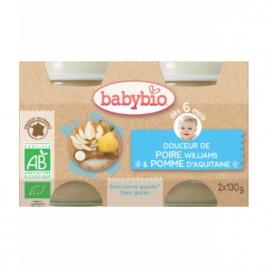 Babybio Douceur de Poire Williams et Pomme d'Aquitaine 2X 130g dès 6 mois 260g Babybio Alimentation bébé Onaturel.fr