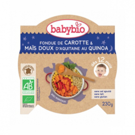 Babybio Mon Assiette Bonne Nuit Fondue de Carotte Maïs et Quinoa dès 12 mois 230g