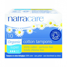 Natracare 10 Tampons super sans applicateur en coton bio Natracare Hygiène Onaturel.fr