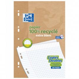 Ecoburo 50 Copies doubles recyclées 21 x 29.7cm Oxford grands carreaux perforées A4 90g