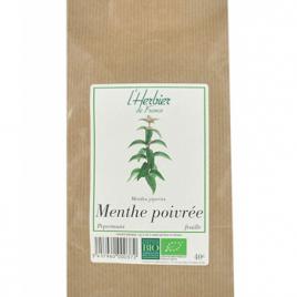 Herbier De France Menthe Poivrée feuilles 40g Herbier De France Cholestérol Onaturel.fr