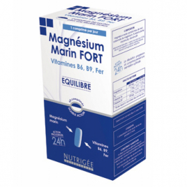 Nutrigee Magnésium Marin Fort, B6, B9, Fer 30 comprimés bi couche