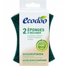 Ecodoo 2 Eponges vertes à récurer en matières recyclées à 97%