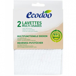 Ecodoo 2 lavettes multi usages en matières recyclées à 97%
