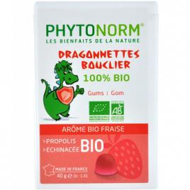 Phytonorm Dragonnettes Bouclier 100% bio Gommes à mâcher Arôme bio de fraise 40g Phytonorm Categorie temp Onaturel.fr