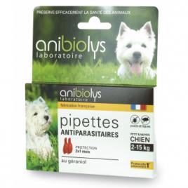 Anibiolys 2 Pipettes antiparasitaires petit et moyen chien 2ml Anibiolys Antiparasitaire Onaturel.fr