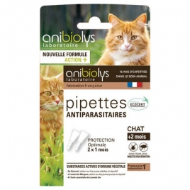 Anibiolys 2 Pipettes antiparasitaires chat + de 2 mois 1.2ml Anibiolys Antiparasitaire Onaturel.fr