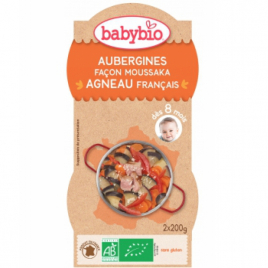 Babybio Bol Menu du jour Aubergines façon Moussaka d'Agneau au parmesan Dès 8 mois 2 x 200g Babybio Assiettes / Bols bébé bio...