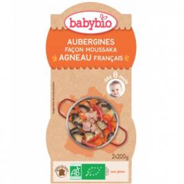 Babybio Bol Menu du jour Aubergines façon Moussaka d'Agneau au parmesan Dès 8 mois 2 x 200g Babybio