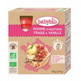 Babybio Gourdes Pomme Fraise Vanille dès 12 mois 4 gourdes de 90g Babybio Gourdes Onaturel.fr