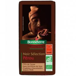 Bonneterre Chocolat noir sélection Pérou 75% cacao 100g Bonneterre Chocolats Bio Onaturel.fr