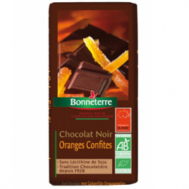 Bonneterre Chocolat noir oranges confites 100g Bonneterre Chocolats Bio Onaturel.fr