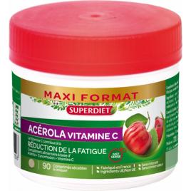 Super Diet Acérola 500 Vitamine C naturelle 90 comprimés Super Diet Categorie temp Onaturel.fr