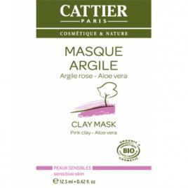 Cattier Masque argile rose Aloe vera sachet unidose 12.5ml Cattier Masques Bio Onaturel.fr