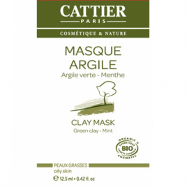 Cattier Masque Argile verte Romarin et Menthe sachet unidose 12.5ml Cattier