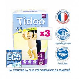 Tidoo Jumbo de 3x 48 Couches MAXI PLUS (T4+)  9/20kg Tidoo Categorie temp Onaturel.fr