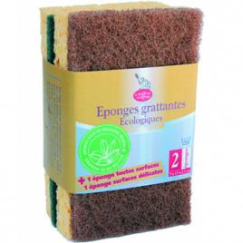 Droguerie Ecologique 1 éponge verte + 1 éponge marron à récurer en matières recyclées