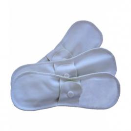 Lulu Nature Lot de 3 serviettes régulières lavables jour Coton bio Blanc