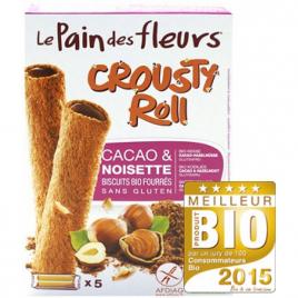 Le Pain Des Fleurs Crousty Roll Biscuits fourrés Cacao et Noisette 125g Le Pain Des Fleurs