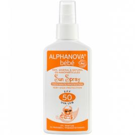 Alphanova Spray solaire sans parfum pour bébé très haute protection SPF50 125g Alphanova Soins solaires bébé bio Onaturel.fr