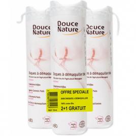 Douce Nature Lot de 3 X 80 disques à démaquiller coton bio Douce Nature Hygiène Onaturel.fr