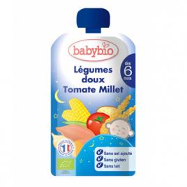 Babybio Gourde Menu Bonne Nuit Légumes doux Tomate Millet dès 6 mois 120g Babybio Gourdes Onaturel.fr