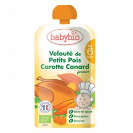 Babybio Gourde Menu du jour Petits pois Carotte Canard dès 6 mois 120g Babybio Gourdes Onaturel.fr