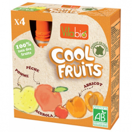 Vitabio Cool fruits jaunes Pommes Pêches Abricots Acérola bio 4 gourdes de 90g Vitabio