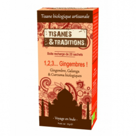 Tisanes Et Traditions 1, 2, 3 Gingembres ! Recharge (Gingembre Galanga Curcuma) 20 sachets