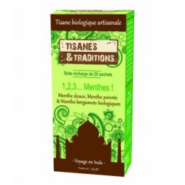 Tisanes Et Traditions 1,2,3 Menthes ! Recharge (Menthe Douce, Poivrée, Bergamote) 20 sachets