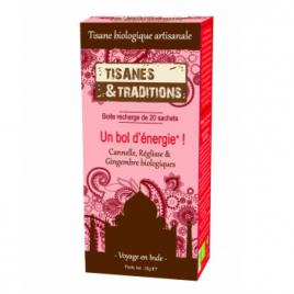 Tisanes Et Traditions Un bol d'énergie! Recharge (Cannelle Réglisse Gingembre) 20 sachets