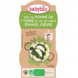 Babybio Trio de Pomme de terre Epinard Chèvre dès 8 mois 2x200g Babybio Alimentation bébé Onaturel.fr