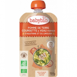 Babybio Gourde Menu du jour Pomme de Terre Courgette Veau Fermier dès 6 mois 120g Babybio Savons / Gels douches Onaturel.fr