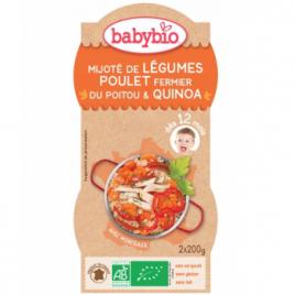 Babybio Bol Menu du jour Mitonné de légumes au poulet fermier et quinoa dès 12 mois 2 x 200g Babybio Alimentation bébé Onatur...