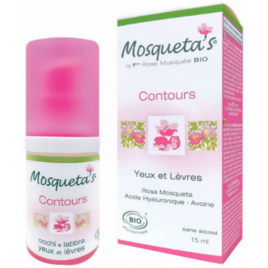 Mosqueta's Contours yeux et lèvres Rose Musquée Acide hyaluronique Avoine 15ml Mosqueta's Accueil Onaturel.fr