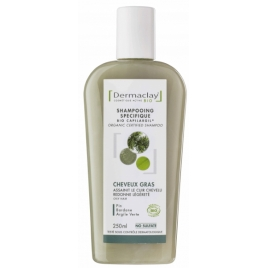 Dermaclay Shampoing Cheveux gras Rhassoul Thym Bardane 250ml Dermaclay  Shampooings Cheveux gras Onaturel.fr