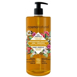 Cosmo Naturel Shampoing douche Miel Propolis 1L Cosmo Naturel Shampooings Bio et Soins capillaires Onaturel.fr