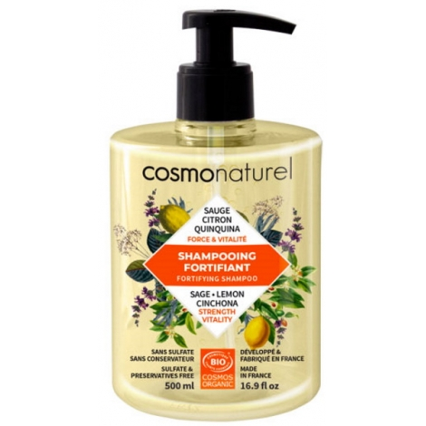 Cosmo Naturel Shampoing Fortifiant Quinquina Sauge Citron 500ml