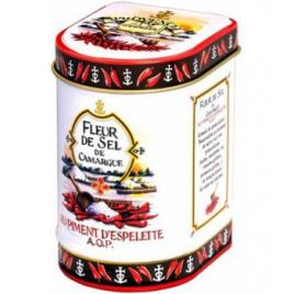Provence D Antan Fleur de Sel de Camargue Piment d'Espelette bio boite métal 70g Provence D Antan Accueil Onaturel.fr