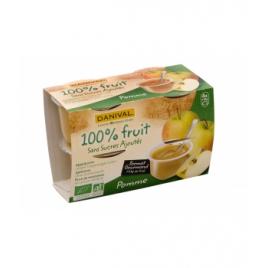 Danival Dessert de fruits pomme nature sans sucre 4x110g Danival Petit déjeuner Onaturel.fr