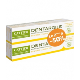 Cattier Lot de 2 Dentargile reminéralisant au Citron gencives irritées 2x100g Cattier Dentifrices bio Onaturel.fr