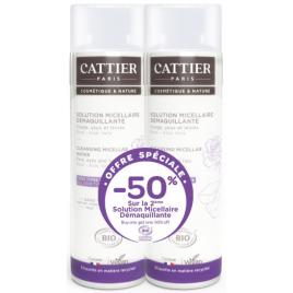 Cattier Lot de 2 solutions micellaire offre spéciale 50% sur la deuxième Cattier Soins démaquillants Bio Onaturel.fr