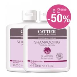 Cattier Lot de 2 Shampoing à la moëlle de bambou cheveux secs 250ml le 2ème à 50% Cattier Shampooings Cheveux secs Onaturel.fr