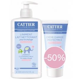 Cattier Lot 1 Liniment Lait nettoyant pour le change 500ml + 1 Crème protectrice à 50% Cattier