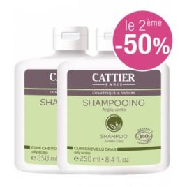 Cattier Lot de 2 Shampoing à l'argile verte pour cheveux gras 250ml le 2ème à 50% Cattier Shampooings Cheveux gras Onaturel.fr