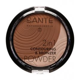 Sante 2 en 1 Contouring et Poudre bronzante N°2 Medium Dark 9g Sante Accueil Onaturel.fr