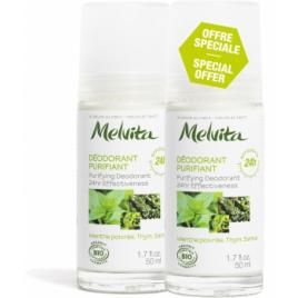 Melvita Duo Déodorant Bille 24h purifiant Menthe Poivrée Thym Santal 2X50ml Melvita Accueil Onaturel.fr