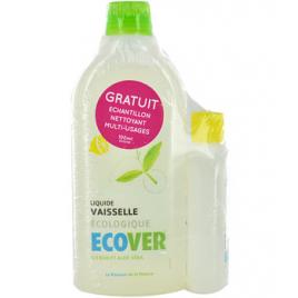 Ecover Liquide vaisselle au citron et à l'aloe vera 500ml + multi usages 100ml offert Ecover Accueil Onaturel.fr