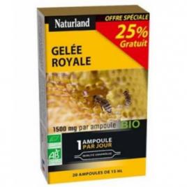 Naturland Gelée Royale bio 1500 mg 20 ampoules de 15ml Naturland Accueil Onaturel.fr
